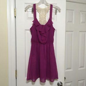 Magenta Chiffon Dress w/Crochet Back